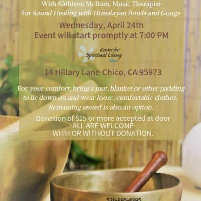 Singing Bowls in Chico California, free sound treatment event