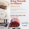 flyer for blanket drive with fluffy red and beige fleece blankets