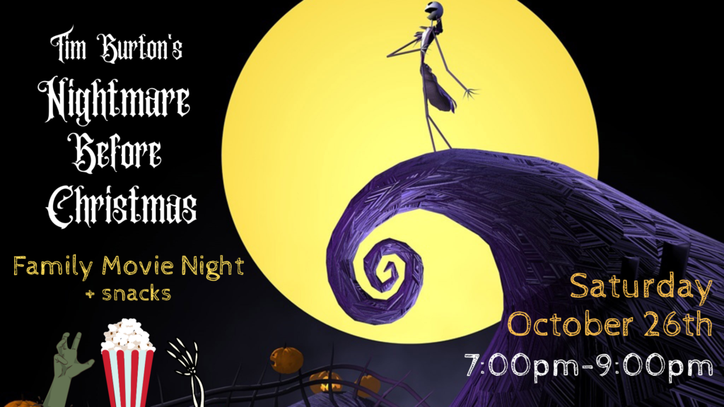 Nightmare before Christmas Movie Night Poster with a large yellow moon and purple mountain