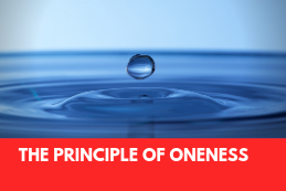 Drop of water image and book title The Principle of Oneness by Russell Gibbs