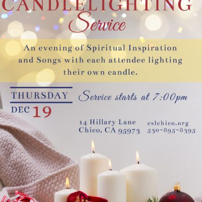 Flyer for Candlelighting Service by Center for SPiritual Living Chico with christmas themed candles and yellow and gray boarders