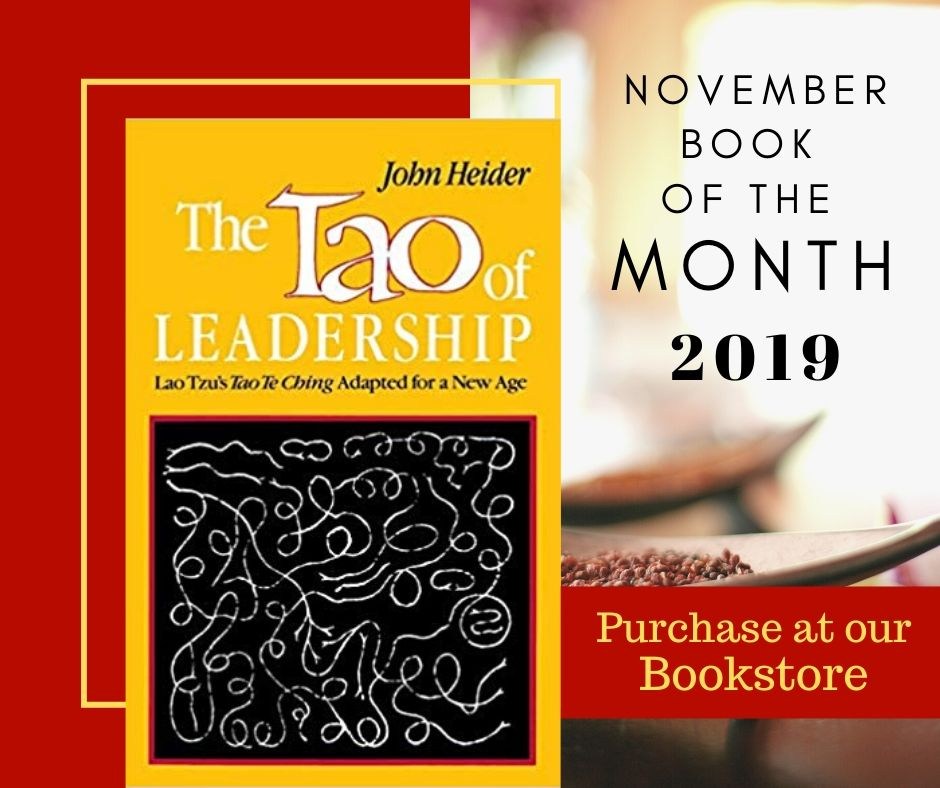 Book of the Month Promotion with warm red and mustard yellow Tao of Leadership book