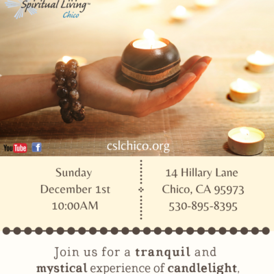 Center for Spiritual Living, Chico's Taize Flyer for 2019 with a hand holding a candle