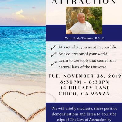 Chico Spiritual Class for Law of Attraction in Chico CA. The flyer uses a photo of a beach with a heart drawn in the sand.