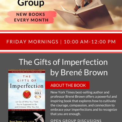 Book Study Group flyer for January The Gift of Imperfection by Brene Brown