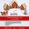 Flyer for Christmas caroling & crafts events for families, with red and white desgins with gingerbread houses