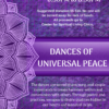 2019 Flyer for Center for Spiritual Living, Chico's Dances of Universal Peace spiritual class in chico. the design is purple with white written text describing the event details