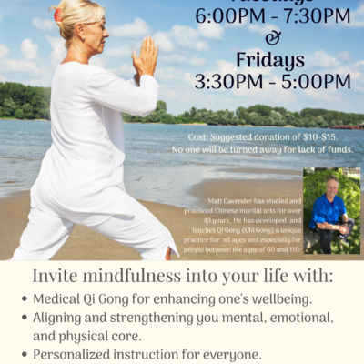 Spiritual class event flyer for Mindful Movement at Center for Spiritual Living, Chico. With an older woman wearing white doing tai chi on a warm ocean beach