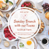 Teen Brunch flyer with a background image of typical brunch food items such as berries and toast