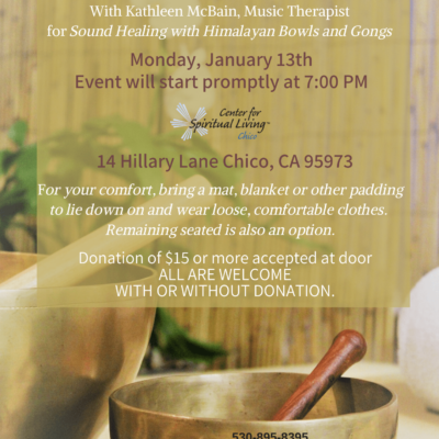 Flyer for 2020 Refresh your Body sound healing event at CSLChico. With an image of Tibetan singing bowls with a red wooded handle