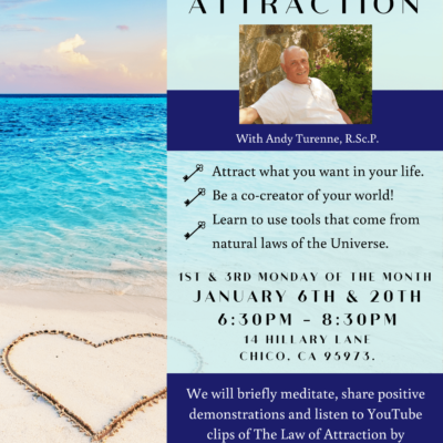 Flyer for Center for Spiritual Living's Law of Attraction Class in 2020. With an image of a warm tropical ocean beach, with a heart shape drawn in the sand.