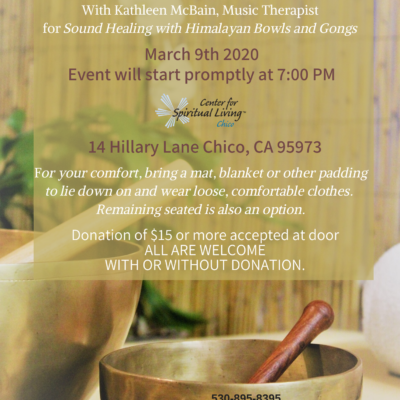 Flyer for dound healing meditation in chico with Himalayan singing bowls