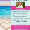 Law of Attraction, positive thinking and empowerment workshop flyer Law of Attraction in Chico. With an image of an ocean beach with a sand heart