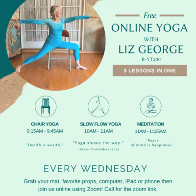 Free Yoga classes online in Chico California Liz george R-YT200 yoga instructor for chair or seated yoga for seniors and slow flow yoga online in zoom flyer is blue