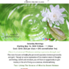 Spiritual Consciousness Class flyer in Chico Ca for Self Mastery. the flyer has an image of a white lotus flower creating ripples of water.