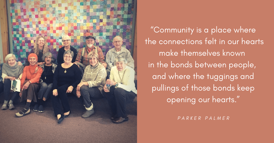 Photo of community with uplifting quote about human connection