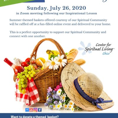Flyer for basket raffle with blue and white design