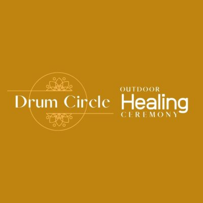 Image if Drum Circle Healing Ceremony logo and yellow brown background color