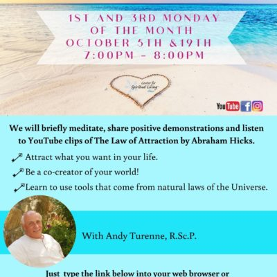 Flyer for a local Chic California Spiritual awakening class for Law of Attraction based on Abrahan Hicks The flyer has a photo of an ocean with baby blue boxes containing class information like the date and time