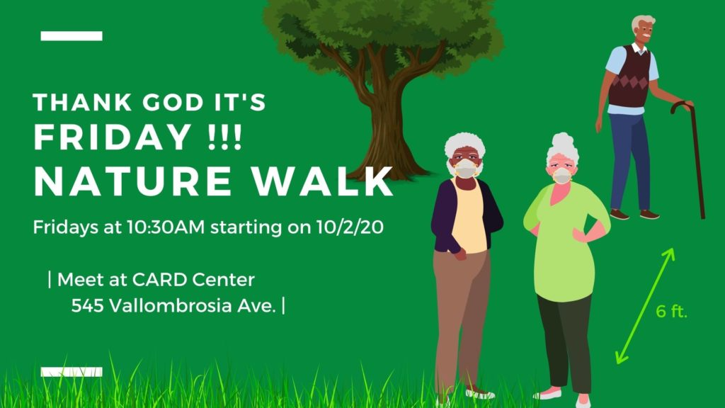 Image promotion for #TGIF Beautiful walk in Bidwell park event. The image contains a green background with white font, and vector art of seniors walking in a stylized cartoon park setting.