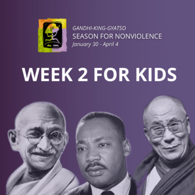 Season for Nonviolence purple image with martin luther king gandhi and the dali lama online blog post image for week 1 activities for kids