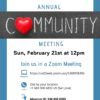 "A simple read, blue and white flyer for our boards community meetings. image has a chalk writing for ""community with a large 3d heart shape"