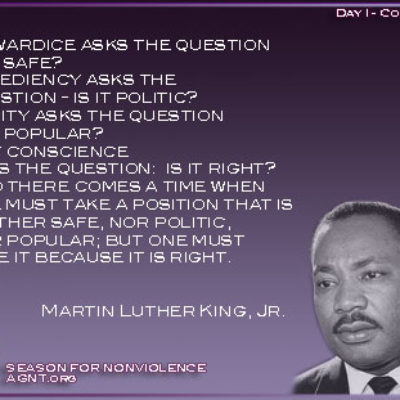 Day 1 of Season of Nonviolence image qith quote by Martin Luther King Jr purple backgorund