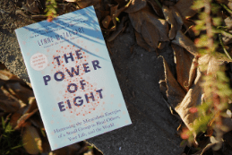photo of Lynn Mctaggarts book The power of eight 8 book outside during fall with leaves on the gorund
