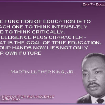 Day 7 for Season of nonviolence 2021 quote by Martin Luther King Jr image with purple background