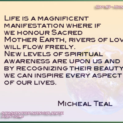 Micheal Teal quote for the Gandhi-King season of Nonviolence meditations videos