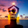 Image of a shadow figure meditating in front of the ocean