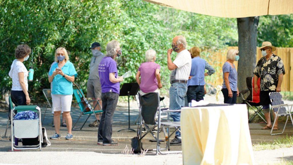 Center for Spiritual Living Chico Choir meeting outside