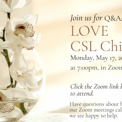 Love CSL Chico bequest Q&A flyer image contains a pale pink image with a glass vase with while orchids inside while flower arrangement