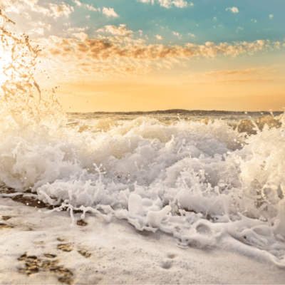 Tropical ocean wave tranquil image of the ocean sunset