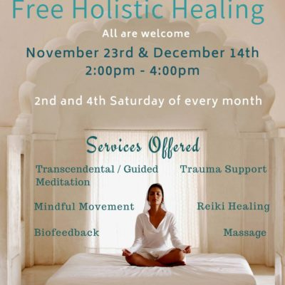 Free Holistic Healing Flyer from Center for SPiritual Living, Chico with a woman meditating on the front photo