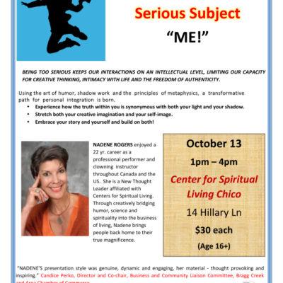Class Flyer for A Lighter Look at a Serious Subject Called Me. with a white background and a jumping silhouette