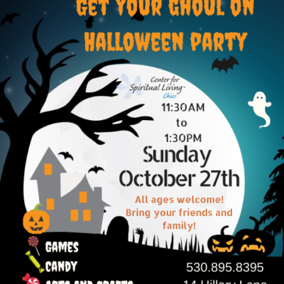 Halloween Flyer with a hoaunted hose and large moon