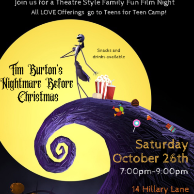 Nightmare Before Christmas Poster Featuring a large yellow moon at its center with a twisted purple mountain
