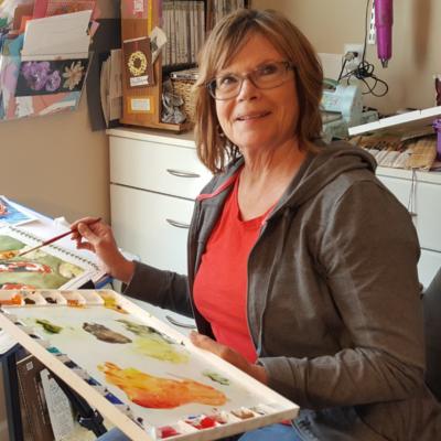 Portrait of Sandy Golhke painting