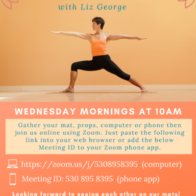 Flyer for Free Online slow flow yoga class with orange colors