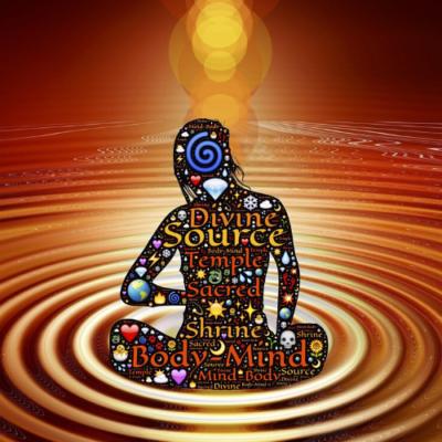Divine energy image of female silhouette