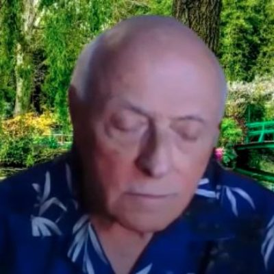 Image of Andy giving an online meditation from Zoom