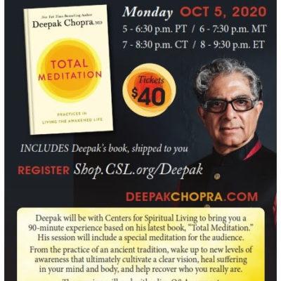 Total Meditation event with Deepak Chopra online book meditation event on October 5th 2020