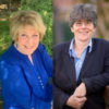 Photo of both CSL Chico Reverends Kathy & Connie wearing blue portraits