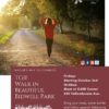 Flyer for TGIF Bidwell Park walk in the Park event with a photo of a woman in red walking on the park and burgundy box frame for flyer text