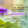Image of a purple lotus class flyer for Law of Attraction Group based on Ester Hicks Abraham Hicks