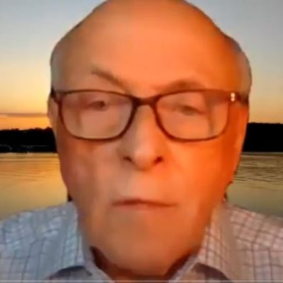 Screen shot of Science of Mind Practitioner Andy gives an online guided meditation on changing perspectives to a positive outlook. based on New Thought leader dr Ernest holmes. picture of an older man with glasses