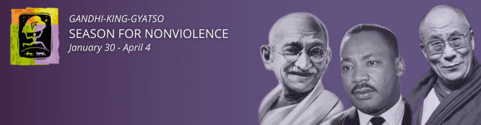 Website banner for season of non violence gandhi king purple banner with logo