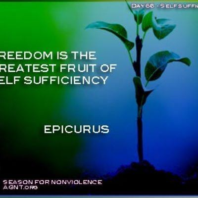 Quote by epicurus on freedom image of a plant growing in a dark blue and green background