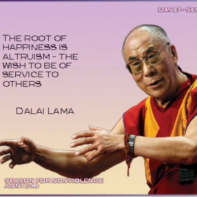 Dali Lama quote on the root of happiness image has a pink background